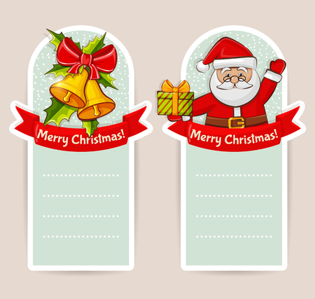 with space for text: Merry Christmas! Set of greeting banners with Santa Claus, bells and space for text. Vector illustration.