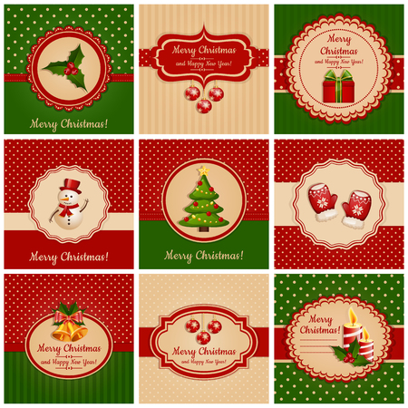 christmas gifts: Set of greeting cards with traditional symbols of Christmas and New Year. Vector illustration. Illustration