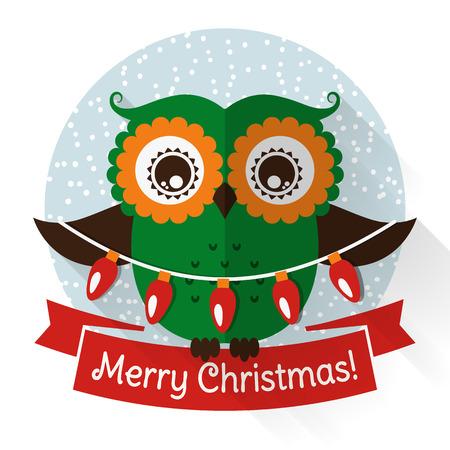 メリークリスマス!かわいいフクロウと花輪のグリーティング カード。ベクトルの図。 写真素材 - 47825885