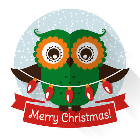 Merry Christmas! Greeting card with cute owl and a garland. Vector illustration.
