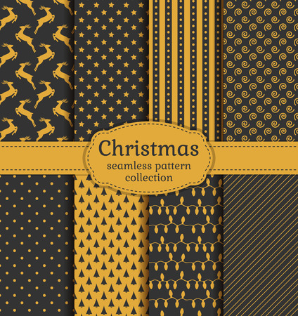 Merry Christmas and Happy New Year! Set of luxury holiday backgrounds. Collection of seamless patterns with gray and gold colors. Vector illustration. Ilustração
