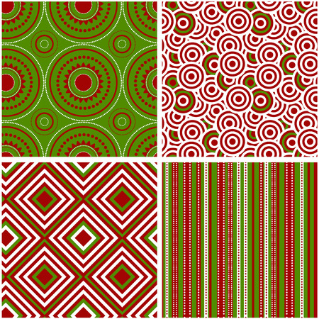 red christmas background: Set of abstract seamless pattern. Vector illustration.