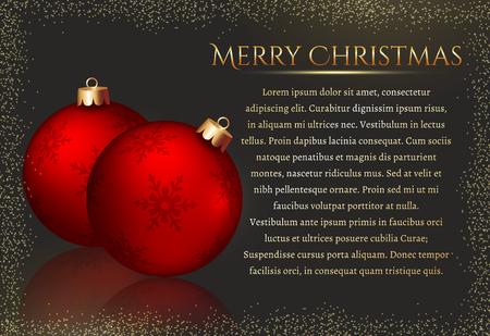 fond de texte: Joyeux Noël! Elégant carte de voeux avec des boules de Noël rouges et espace pour le texte. Vecteur de fond.