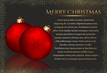 for text: Merry Christmas! Elegant greeting card with red christmas balls and space for text. Vector background. Illustration