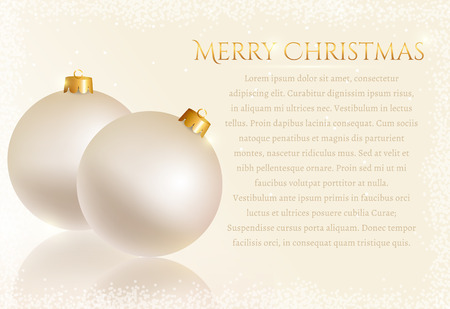 white greeting: Merry Christmas! White greeting card with christmas balls and space for text. Vector background. Illustration