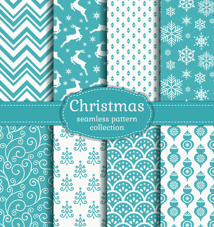Merry Christmas and Happy New Year! Set of white and blue seamless backgrounds with traditional symbols: deer, fir-tree, snowflakes, christmas balls and suitable abstract patterns. Vector collection.