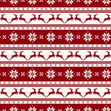 renna: Buon Natale e Felice Anno nuovo! sfondo a righe senza soluzione di continuità con cervi e modello nordico. Illustrazione vettoriale.