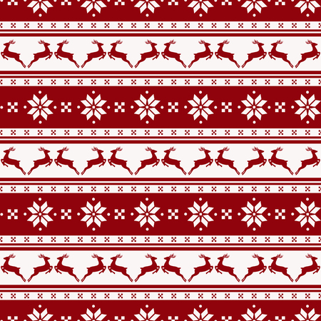 Merry Christmas and Happy New Year! Seamless striped background with deers and nordic pattern. Vector illustration. Ilustração