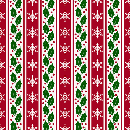 Merry Christmas and Happy New Year! Striped background with snowflakes and holly. Seamless pattern. Vector illustration.