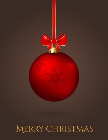 vertical image: Merry Christmas! Elegant greeting card with red christmas ball on a dark background. Vector illustration. Illustration