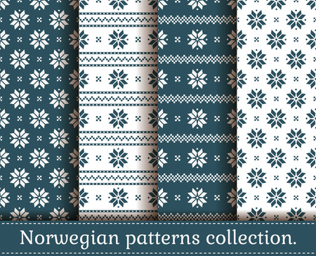 winter colors: Seamless backgrounds in traditional Norwegian style. Set of Christmas and winter patterns in white and dark blue colors. Vector illustration. Illustration