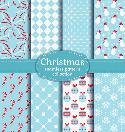 Merry Christmas and Happy New Year! Set of seamless backgrounds with traditional symbols: candy cane, snowman, snowflakes, christmas balls, fireworks and suitable abstract patterns. Vector collection. Ilustração