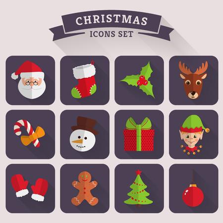 conjunto: Navidad y Año Nuevo iconos. Conjunto de símbolos de colores con largas sombras. Colección de elementos planos para su diseño. Ilustración del vector.