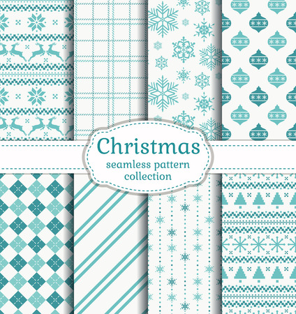 Merry Christmas and Happy New Year! Set of seamless backgrounds with winter holidays symbols: reindeer, christmas tree, christmas ball, snowflakes and suitable abstract patterns. Vector collection.