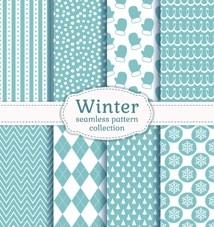 winter colors: Set of winter backgrounds. Collection of seamless patterns with pale blue and white colors. Vector illustration.