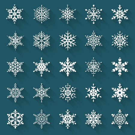 Flat snowflakes. Icons isolated on a blue background. Set of 25 white symbols with long shadows. Elements of various shape for your design. Vector illustration.