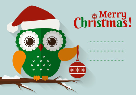 christmas cartoon: Merry Christmas! Greeting card with place for text. Flat owl with Christmas ball and Santa hat. Vector illustration.
