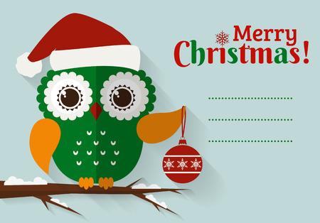 Vrolijk kerstfeest! Wenskaart met plaats voor tekst. Platte uil met kerst bal en kerstmuts. Vector illustratie.
