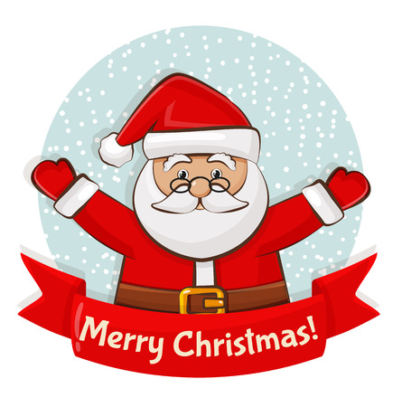 Merry Christmas! Greeting card with Santa Claus. Vector illustration. Vettoriali