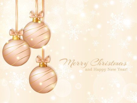pale: Merry Christmas and Happy New Year! Greeting card with christmas balls.