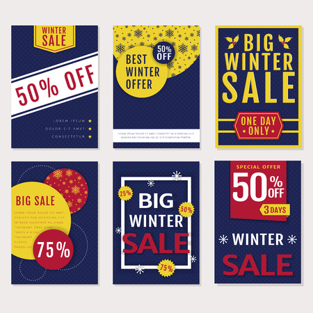 winter colors: Winter sales and discounts! Set of seasonal advertising banners, flyers and labels. Templates in blue, red, white and yellow colors.