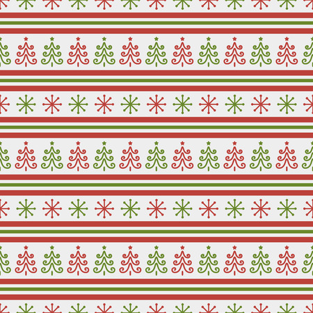 Merry Christmas and Happy New Year! Retro seamless background with traditional holidays symbols: christmas trees and snowflakes. Striped pattern in white, red and green colors. Illustration
