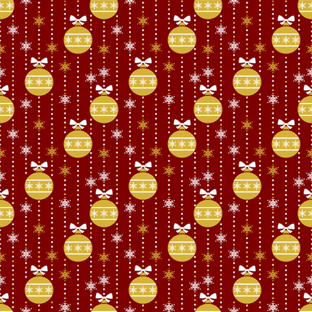 Merry Christmas and Happy New Year! Seamless pattern with traditional winter holiday symbols: christmas ball and snowflakes. Retro background.