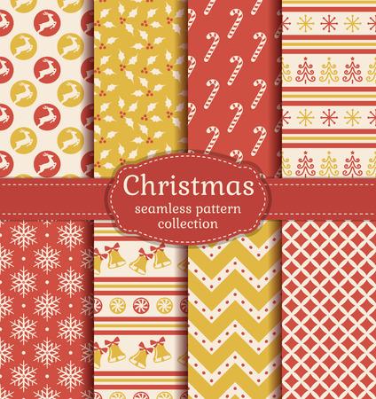 campanas: ¡Feliz navidad y próspero año nuevo! Conjunto de antecedentes sin fisuras con los símbolos tradicionales: ciervos, árbol de navidad, campanas, bastón de caramelo, acebo, copos de nieve y patrones abstractos adecuados. Vectores