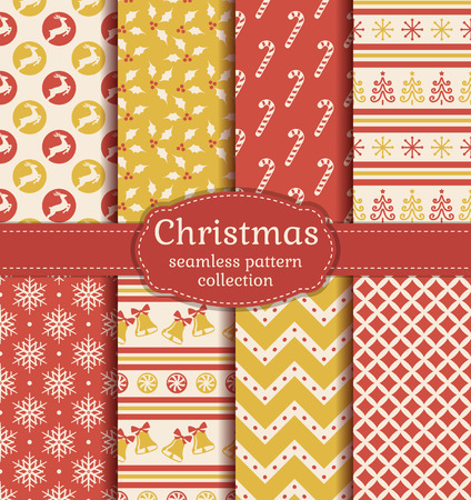 Merry Christmas and Happy New Year! Set of seamless backgrounds with traditional symbols: deer, christmas tree, bells, candy cane, holly, snowflakes and suitable abstract patterns.