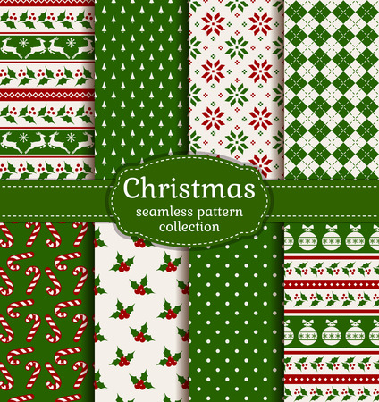 Merry Christmas and Happy New Year! Colorful seamless backgrounds with holiday symbols and patterns: tree ball, reindeer, holly, candy cane, argyle, polka dot and norwegian selbu rose. Stok Fotoğraf - 48430281