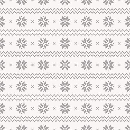 伝統的なノルウェー風のシームレスな背景は。灰色と白の色で冬パターン。  イラスト・ベクター素材