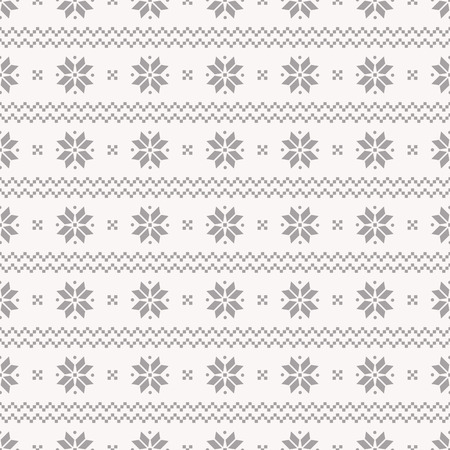 Seamless background in traditional Norwegian style. Winter pattern in gray and white colors. Ilustração