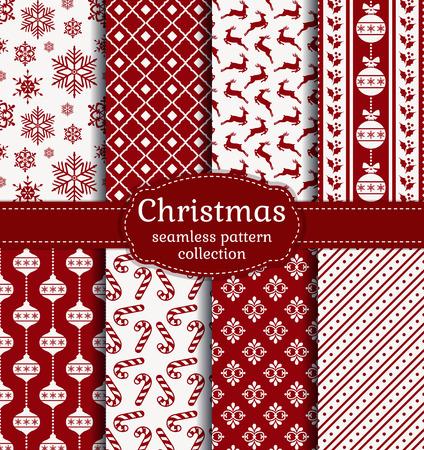 Frohe Weihnachten und ein gutes neues Jahr! Rote und weiße nahtlose Hintergrund mit traditionellen Urlaub Symbole: Weihnachtskugel, Hirsche, Schneeflocken, Zuckerstangen, Stechpalme und geeignete abstrakte Muster. Standard-Bild - 48430284