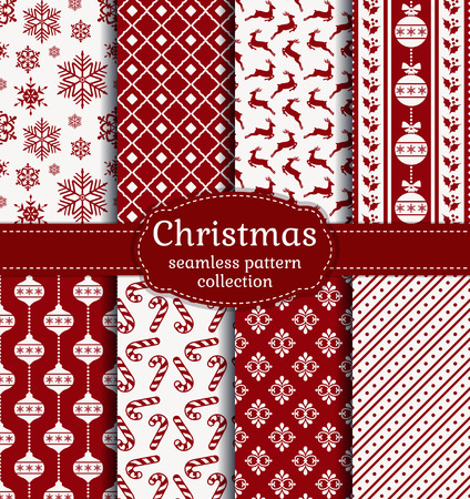 Merry Christmas and Happy New Year! Red and white seamless backgrounds with traditional holiday symbols: christmas ball, deer, snowflakes, candy cane, holly and suitable abstract patterns.
