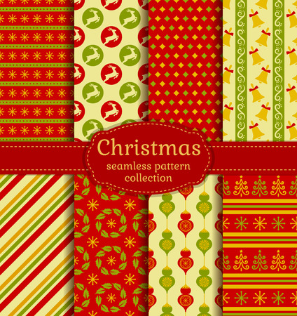 yellow paper: Merry Christmas and Happy New Year! Set of chic seamless backgrounds with traditional symbols: deer, christmas tree, tree ball, bells, snowflakes and suitable abstract patterns.
