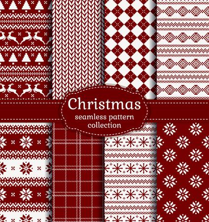 즐거운 성탄절 보내시고 새해 복 많이 받으세요! 겨울이나 휴일에 대 한 빨간색과 흰색 원활한 배경 설정합니다. 따뜻한 섬유 패턴 아가일, 체크 무늬,  일러스트