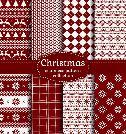 Merry Christmas and Happy New Year! Set of red and white seamless backgrounds for winter or holiday design. Warm textile patterns: argyle, plaid, norwegian and knitted patterns. Ilustração