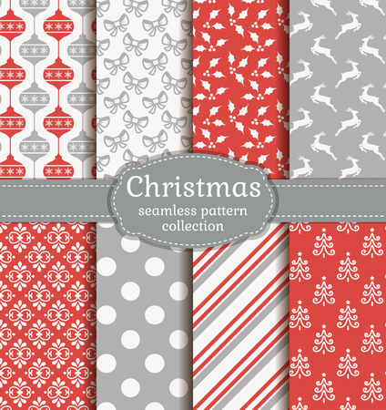 Merry Christmas and Happy New Year! Set of elegant seamless backgrounds with traditional holidays symbols: reindeer, christmas tree, tree ball, holly and suitable abstract patterns.