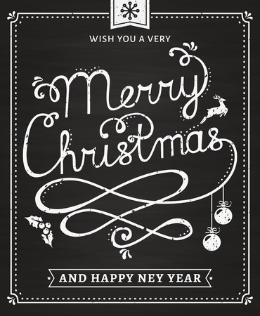 blackboard: Merry Christmas and Happy New Year! Greeting card with lettering on chalkboard. Illustration