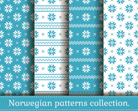 christmas backgrounds: Seamless backgrounds in traditional Norwegian style. Set of Christmas and winter patterns in light blue and white colors.
