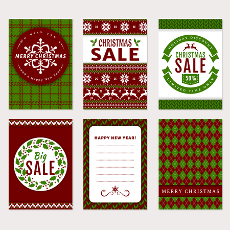 Merry Christmas and Happy New Year! Set of holidays banners and labels. Illustration