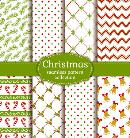 Merry Christmas and Happy New Year! Set of cute seamless backgrounds with traditional holidays symbols Illustration