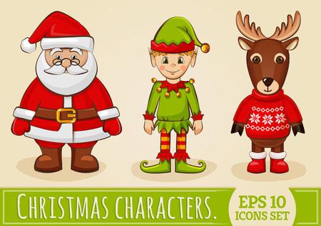 クリスマス文字: サンタ クロース、エルフとトナカイ。休日のデザインの色のアイコンのコレクションです。 写真素材 - 48430623