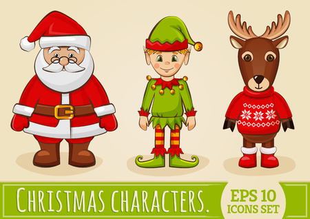 Christmas characters: Santa Claus, elf and reindeer. Collection of colored icons for holiday design.