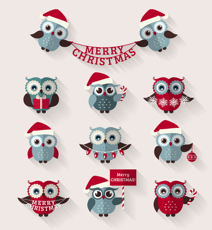 christmas hat: Merry Christmas! Set of cute flat owls for holiday design. icons with long shadow.