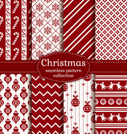 Merry Christmas and Happy New Year! Red and white seamless backgrounds with traditional winter holiday symbols