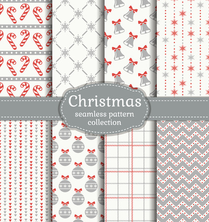 Merry Christmas and Happy New Year! Set of seamless backgrounds with traditional symbols Vectores