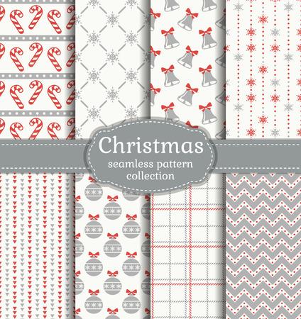 Frohe Weihnachten und ein gutes neues Jahr! Set von nahtlosen Hintergrund mit traditionellen Symbolen Standard-Bild - 48430627