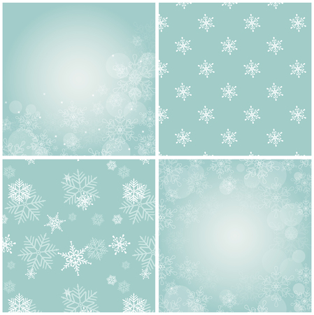 snow background: Set of 4 blue backgrounds with snowflakes. Illustration