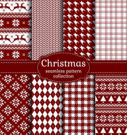 Merry Christmas and Happy New Year! Set of red and white seamless backgrounds for winter or holiday design. Warm textile patterns Çizim